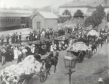 Funeral Procession of Sir Henry Parkes at Central Railway Station, Sydney 1896. Sir Henry Parkes, GCMG was regarded as the Father of the Australian Federation.