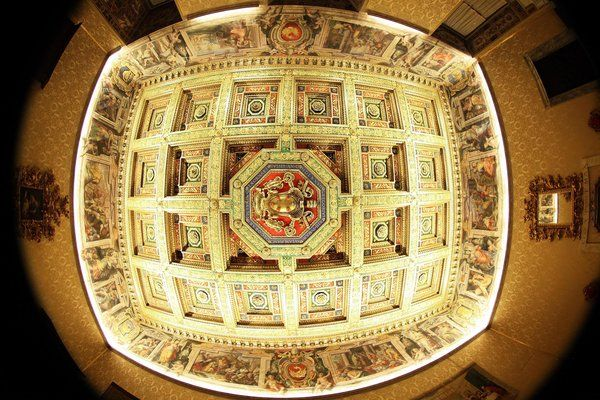 A fisheye lens was used for this photo) A detail of the ceiling is seen at the Apostolic Palace on November 24, 2012 in Vatican City, Vatican.