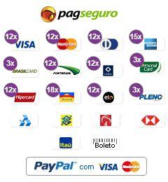 Este site aceita pagamentos com Visa, Mastercard, Diners, American Express, Hipercard, Aura, Elo, Plenocard, Personalcard, Brasilcard, Fortbrasil, Cabal, Mais!, AVista, GrandCard, SoroCred, Bradesco, Itaú, Banco do Brasil, Banrisul, Banco HSBC, Saldo em conta PagSeguro, Boleto e Paypal.