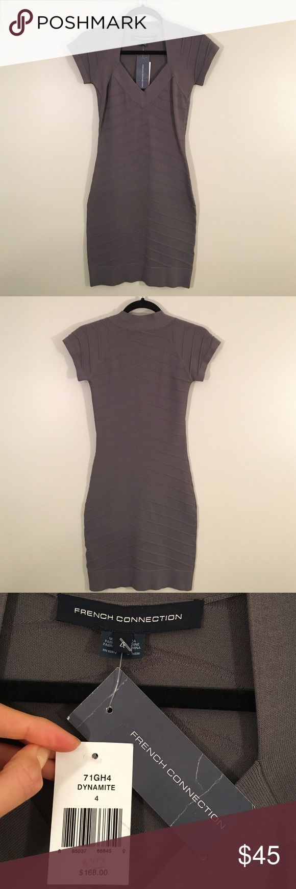 French Connection NWT Grey Body Con Dress Brand New with Tags & Never Worn! Perfect for NYE! Size 4. Short sleeves. I'm 5'7 and it hits a little above the knee. Great looking dress, I just don't have anywhere to wear it! French Connection Dresses Mini