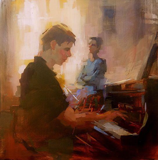 Piano Teacher by Michael Steirnagle ~ 20 x 20