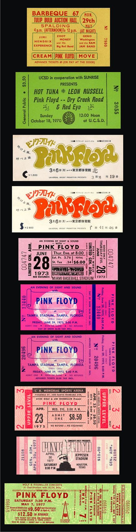 TEN • 1966-67 PINK FLOYD                                            Unused Concert Tickets  -Paper Replicas by thundertix~Made in the USA.