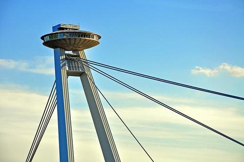 Novy most bridge, Bratislava - UFO bridge and tower: http://www.welcometobratislava.eu/portfolio/ufo-bridge-tower/