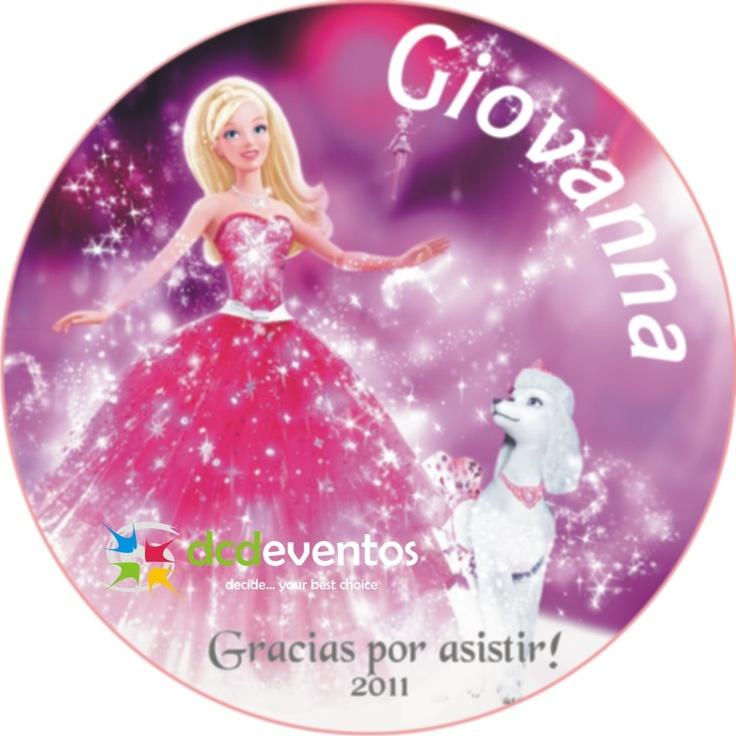Stickers personalizados con temática Barbie para souvenirs y para golosinas.