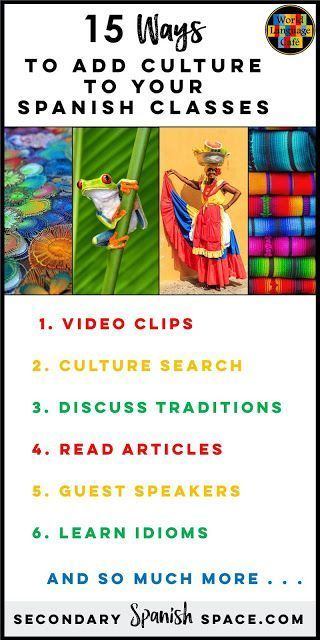 15 Ways to Incorporate Hispanic Culture for the 21 Spanish Speaking Countries in Your Spanish Classroom   Secondary Spanish Space #spanishlessontips