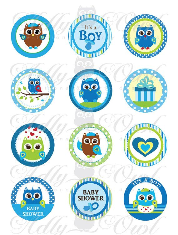 Blue Owl Baby Shower Cupcake Toppers Or Favor Tags Printables DIY, Itu0027s A  Boy Owl