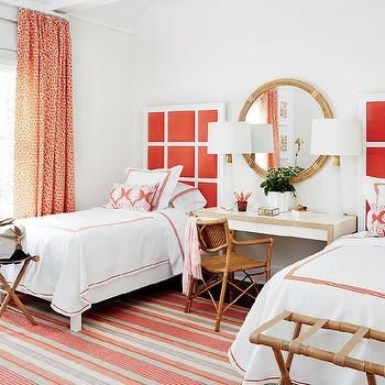 White and Red Bedroom with Nightstand as Make Up Vanity and Desk