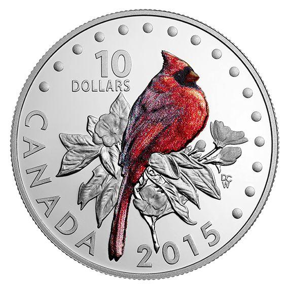 Colourful Songbirds of Canada: The Northern Cardinal - 1/2 oz. Fine Silver Coloured Coin (2015)