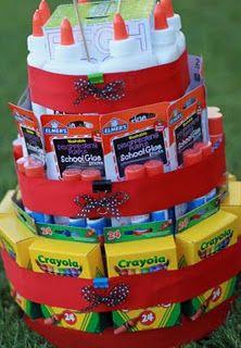 A school supply cake. Great idea for a teacher.Teacher Gifts, Teachers Gift, New Teachers, Teachers Appreciation, Gift Ideas, School Supplies, Schools Supplies, Appreciation Gift, Supplies Cake