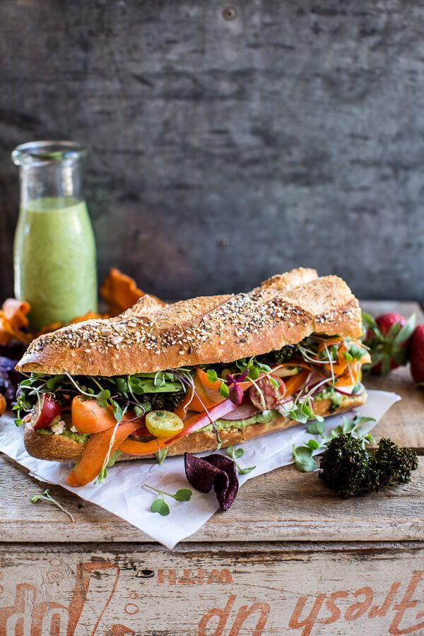 California Rainbow Veggie Sub with Goddess Dressing + Chipotle BBQ Ranch Kale Chips