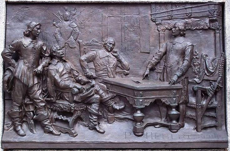 Il y a 375 ans, le 17 mai 1639, était fondé la Société de Notre-Dame de Montréal. La formation de cette société est le prélude de la fondation de Ville-Marie en 1642, qui deviendra Montréal. Les membres de la société, dont font partie Maisonneuve et Jeanne Mance, visent la fondation d'un établissement missionnaire sur l'île de Montréal. Photo : Détail d'un bas-relief de Louis Philippe Hébert sur le monument à la mémoire de Maisonneuve / Wikimédia, Jeangagnon 2011 - Creative Commons 3.0…