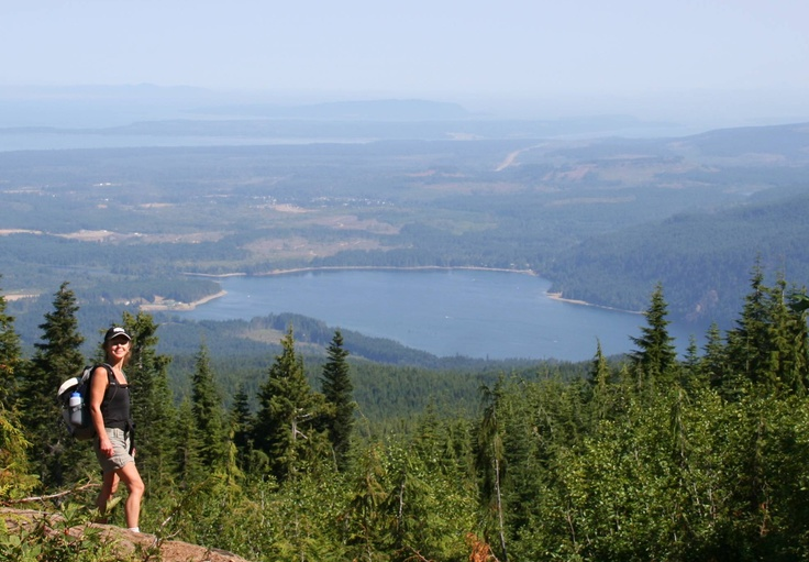 Hiking high above the Comox Valley on Vancouver Island, B.C.