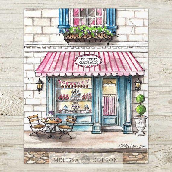 Les Petits Gateaux Bakery Aquarelle Print Francais Boulangerie