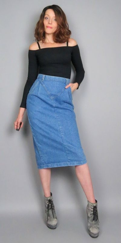 a81cfff702 Vintage 80s High Waisted Blue Jean Midi Skirt Denim Long Pencil Skirt  Fitted Below the Knee Retro Pleated V Yoke Front High Waist by  BlueFridayVintage on ...