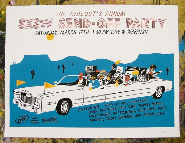 The Hideout's Annual SXSW Send-Off -Joan Of Arc Poster - The Hideout, Chicago - Ryan Duggan