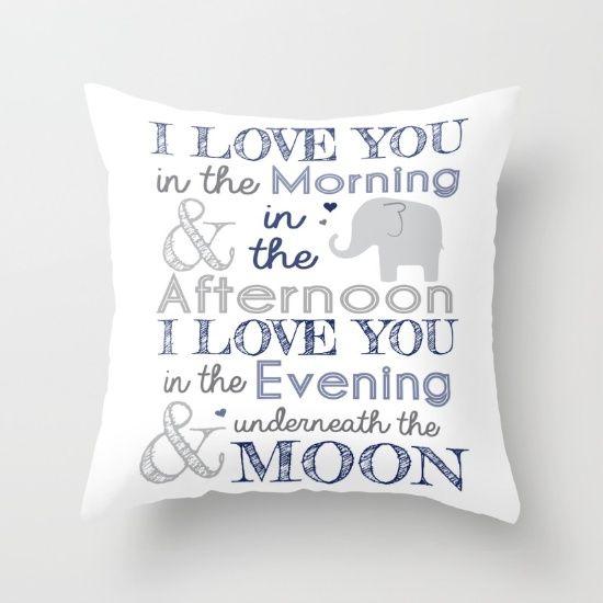 Elephant nursery print Throw Pillow