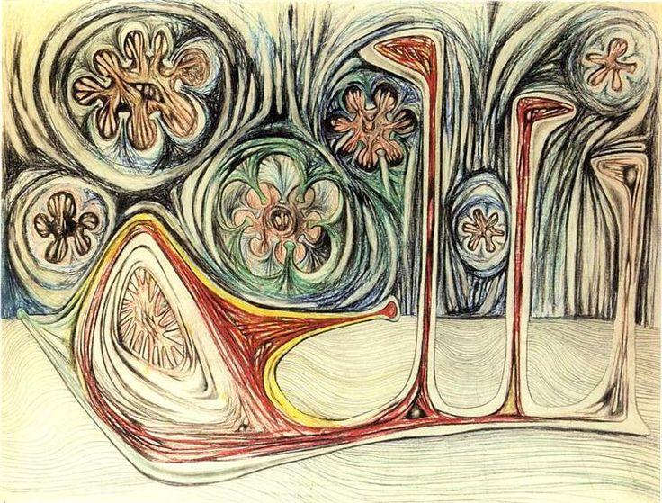 """surrealismart: """"  Snail's Trace (1937) Roberto Matta """""""