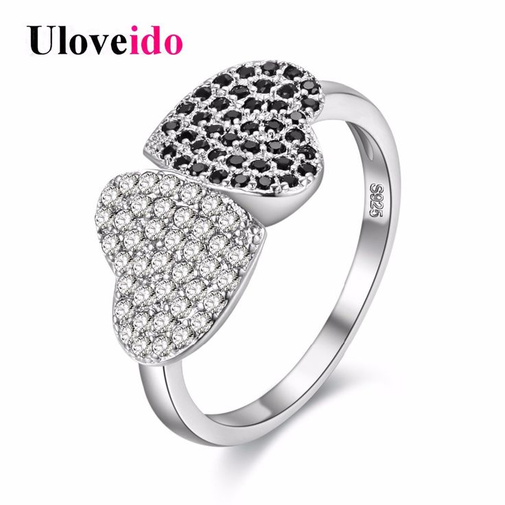 Uloveido Silver Plated Angel Wings Pave Cubic Zirconia Rings for Women PJ4270