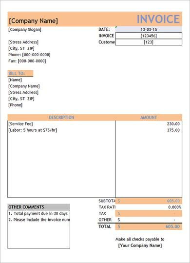 119 best receipt template images on Pinterest Sample resume - example of invoice for services rendered