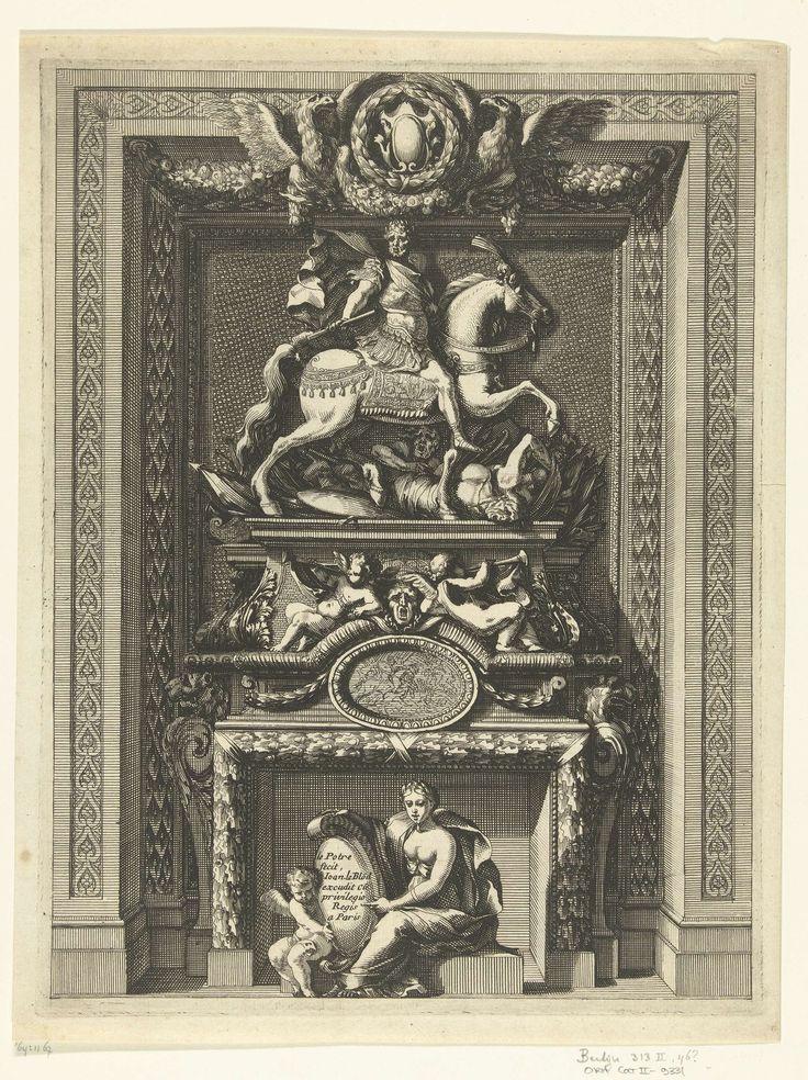 Jean Lepautre | Onderboezem in nis, Jean Lepautre, c. 1660 - c. 1666 | Bovenaan een keizer te paard met daaronder een wapentrofee en gevallen soldaten. Uit serie van 6 bladen.