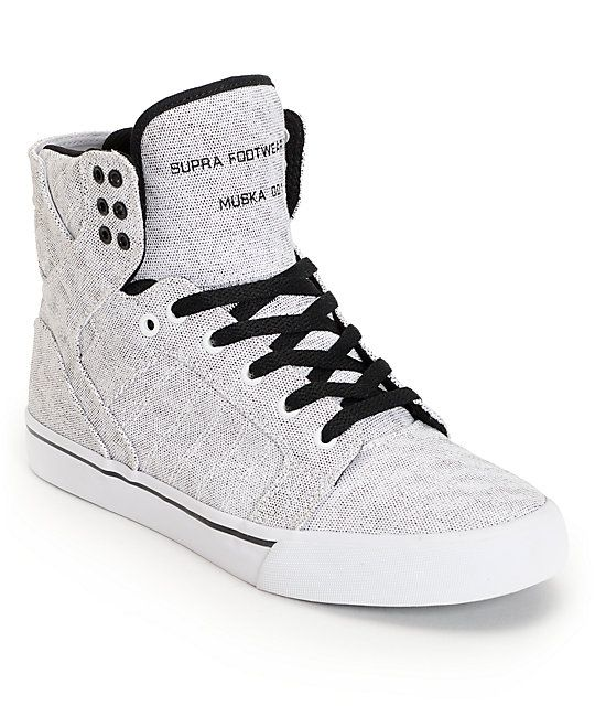 The SUPRA Skytop White Pavement Canvas Shoe are loaded with technical skate functionality to match it's stand out style. These Chad Muska pro model high top skate shoes feature a speckled white durable canvas upper, white vulcanized rubber outsole with bl
