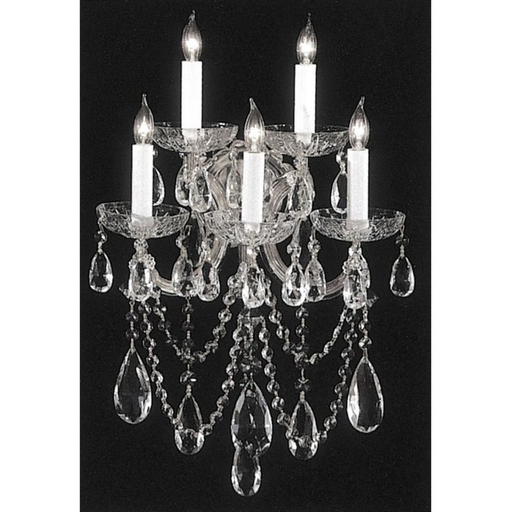 Crystorama Maria Theresa 4425 5 Light Wall Sconce Clear Swarovski Spectra Crystal