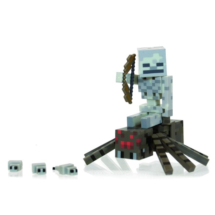 Minecraft Spider Jockey Pack Action Figure. Minecraft Spider Jockeys are one of the deadliest mobs in the game. The spider's agility and skeleton's bow result in a lethal combination. Pack includes: Skeleton with Bow, Spider with saddle and 3 Silverfish. Both the Skeleton and Spider Figures are fully articulated. Collect all Series 2 Minecraft action figures!.