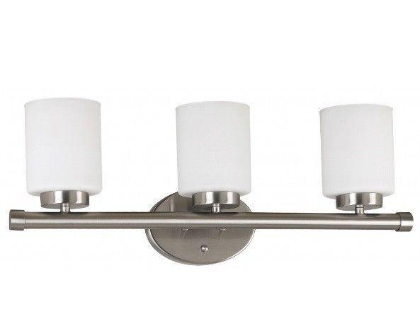 Bathroom Vanity Light Fixture Modern 3-light Frosted Glass Brushed Steel Finish #DesignCraft #Modern