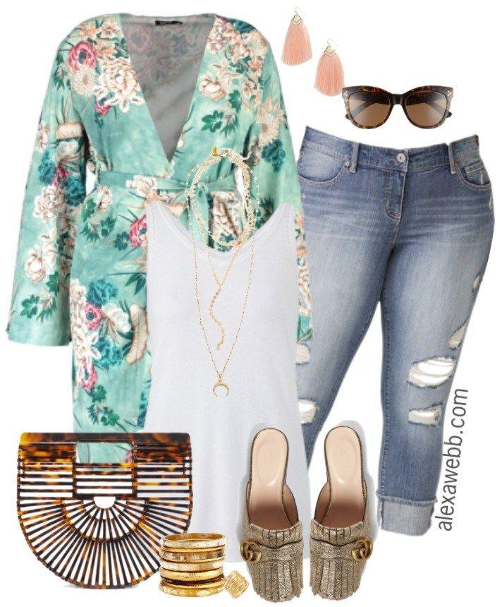 Plus Size Spring Kimono Outfit | Kimono outfit, Plus size