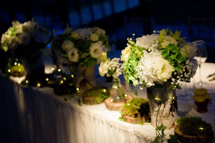 Flower centerpiece for forest fairytale wedding theme