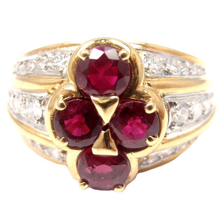 VAN CLEEF & ARPELS Diamond Ruby Yellow Gold Ring