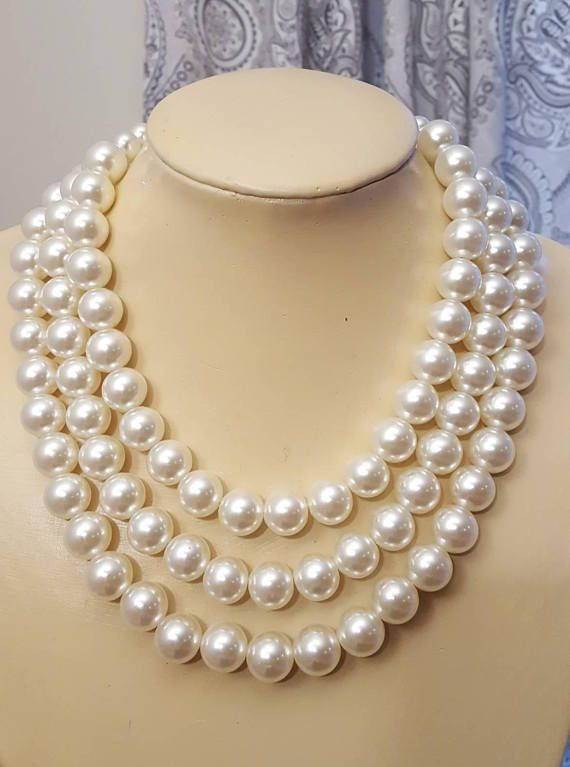Check out this item in my Etsy shop https://www.etsy.com/ca/listing/545619239/chunky-three-layer-pearl-necklaceivory