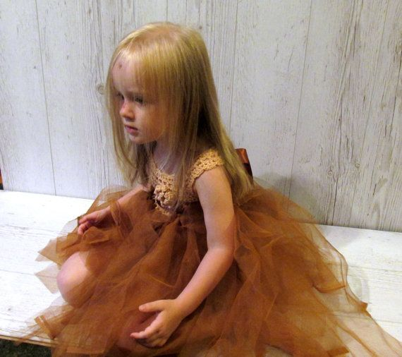 Koperen tutu baby jurk koperen bloemenmeisje jurk gehaakte