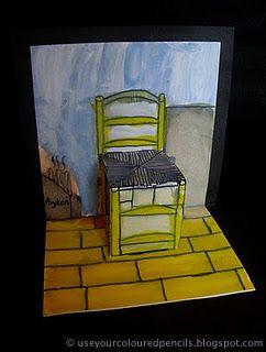 Van Gogh mag natuurlijk niet ontbreken. Maak een stoel a la Van Gogh is een originele manier om te kijken naar het werk en leven van Van Gogh. Op useyourcolouredpencils.blogspot. com staan meer leuke art projecten voor kinderen van 5-13 jaar.
