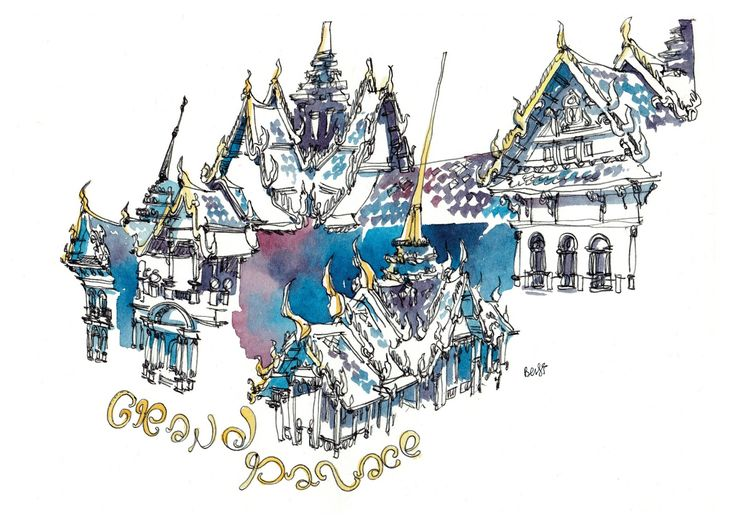sketching in Thailand, Grand Palace in Bangkok