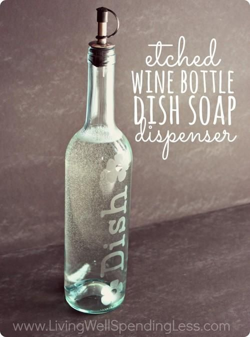 Clean wine bottles and etch them for cute DIY dish soap or olive oil holders- love how elegant this looks