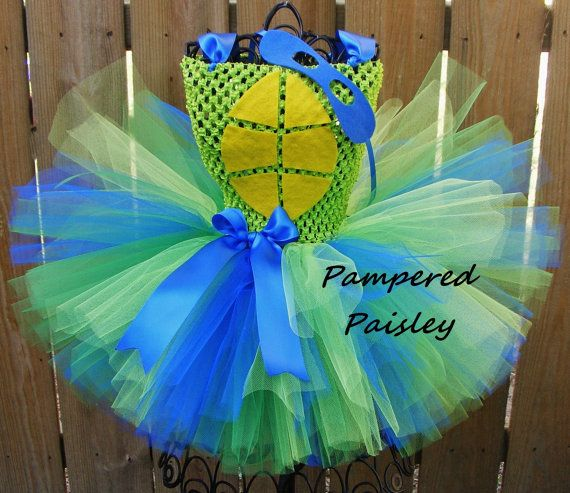 Blue turtle tutu dress  TMNT inspired ninga by PamperedPaisley