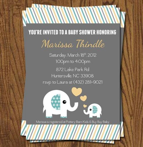 Baby Shower Invitation   Elephant Theme  by olivepresspaper, $12.75