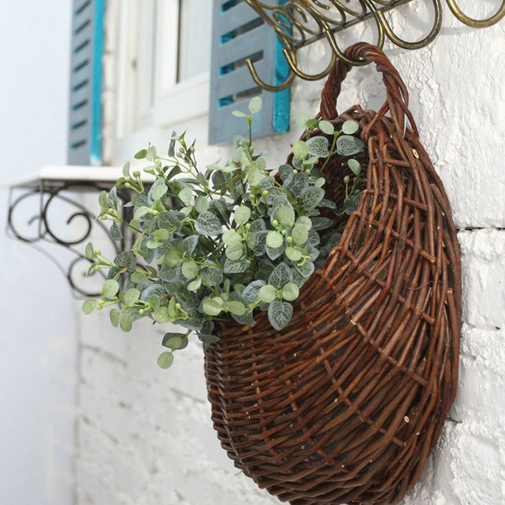 New Rattan Flower Baskets Wall Decor Unique Hanging Flower Pot for Artificial Plants Wedding Decoration Novelty Christmas Gift