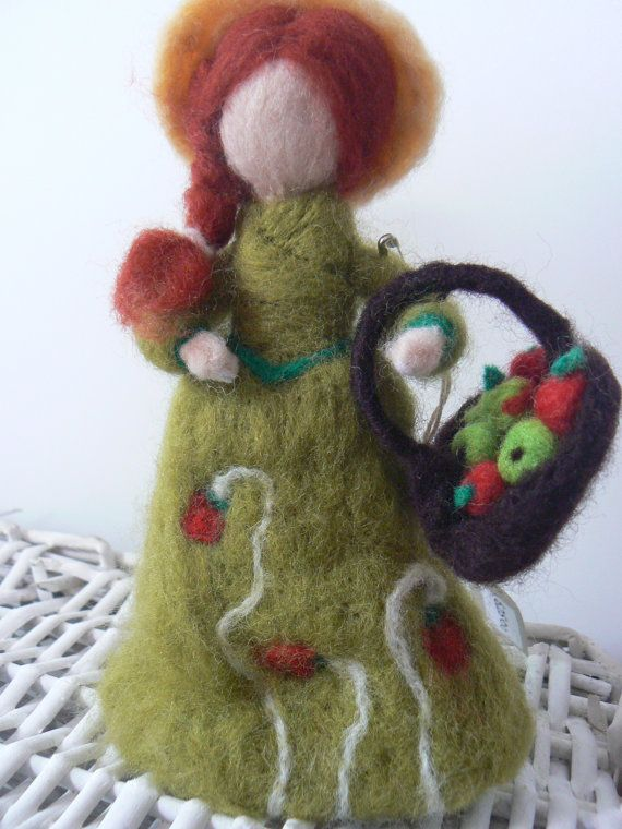 Needle felted doll 'Apple Picking' available at www.etsy.com/lizziedoodlesnz