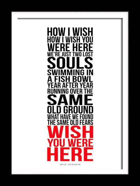A3 Pink Floyd Wish you were here Print van RTprintdesigns op Etsy