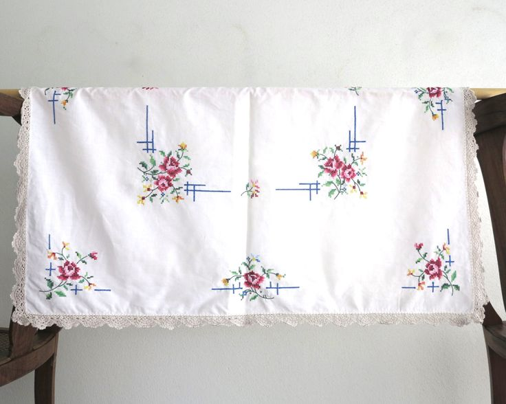 Hand embroidered square tablecloth / supper cloth with cross stitched flowers and crochet edge, 33 x 32 ins / 84 x 82 cm, mid 20th century by CardCurios on Etsy