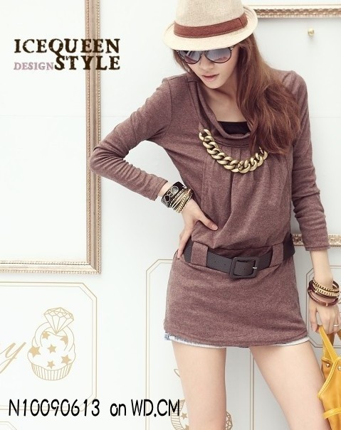 Belt Embellished Long Sleeve Dress Coffee  N10090613 US$ 6.76 Free Tax from WD.CM