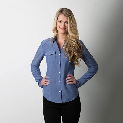 Granville Shirt sewing pattern by Sewaholic Patterns, classic fitted button-up shirt that's flattering on hourglass and pear-shaped figures. Women's tailored buttondownshirt for work or casual wear. Collared shirt with a great fit.