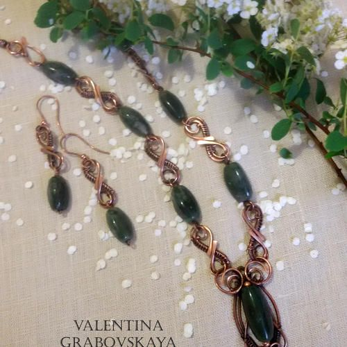 Copper necklace agate - Copper set of earrings - natural stones - Handmade jewelry - jewelry wire - Gift for her  - by ValentinaWireJewelry