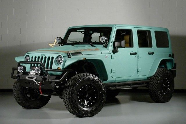 2013 Jeep Wrangler Unlimited -PaddleBoard Green and Amaretto interior...I usually hate cars in these types of colors buuut somethins different bout this one