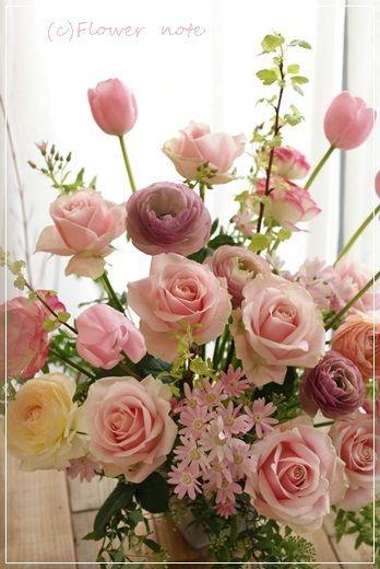 【今日の贈花】音楽大学の卒業をお祝いして Flower note の 花日記 (横浜・上大岡 アレンジメント教室)