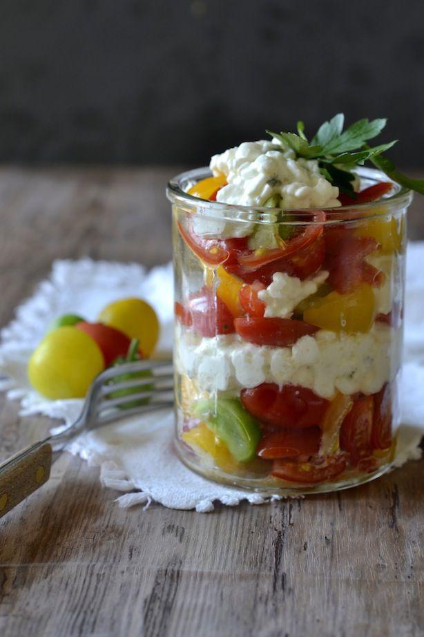 tomato trifle w/cottage cheese - tomattrifli