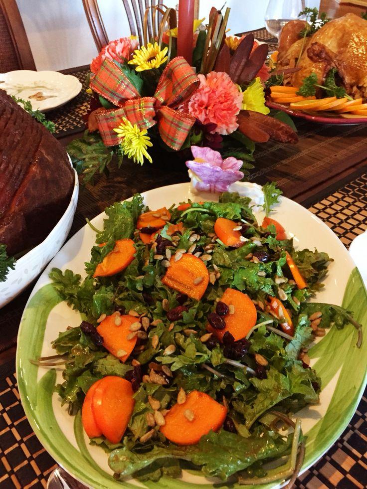 Kale Persimmon Cranberries Salad with Pumpkin Vinaigrette Kale salad ...