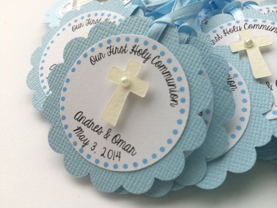 20 Light Blue Baptism or Christening Personalized Tag with Ivory Cross and WHITE Pearl.  Religious Party, 1st Communion, Baptism Favor Tags